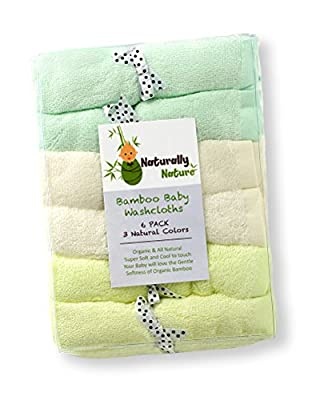 Naturally Natures Bamboo Baby Washcloths, Wipes 6 Pack, Large 10x10 size, Gentle and soft on Baby Skin