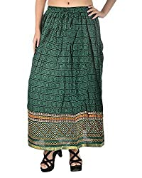 Aura Life Style Women's Square Jaipuri Printed Cotton Skirt (ALSK2033P, Dark Blue & Green, Free Size)