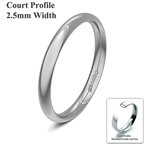 Xzara Jewellery - Platinum 2.5mm Light Court Hallmarked Ladies/Gents 2.6 Grams Wedding Ring Band