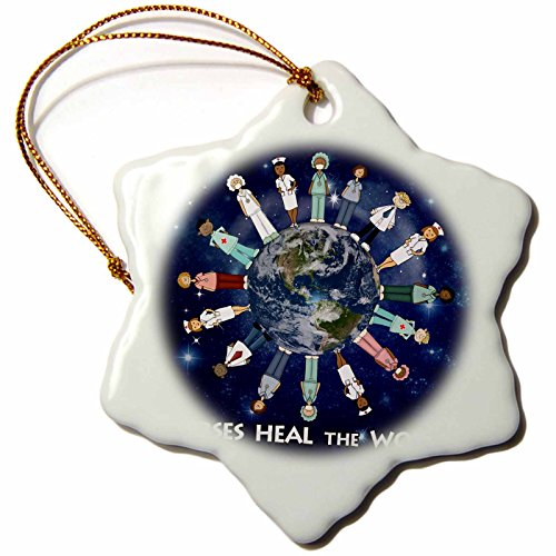3dRose orn_79459_1 Nurses Heal World Planet Earth with Male and Female Nurses of All Cultures Circling Globe Snowflake Decorative Hanging Ornament, Porcelain, 3-Inch