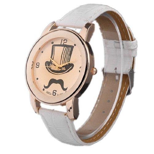 Better Dealz UK Lady Mage Cap+Moustache Pettern Beige Dail Rose Gold Case Quartz Wrist Watch-White Lether