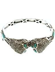 Exotic India Kissing Owls Inlay Bracelet With Marcasite - Sterling Silver