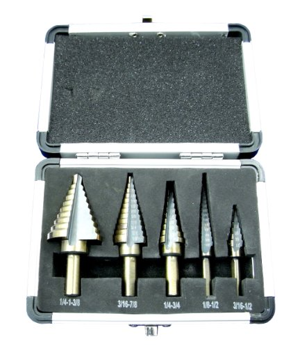Neiko 10197A 5-Piece Step Drill Bit Set with Metal Case, SAE