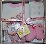 Baby Gift Box 0-3 months -Bodysuit, bib ,toy and socks by Bee Bo (Pink)