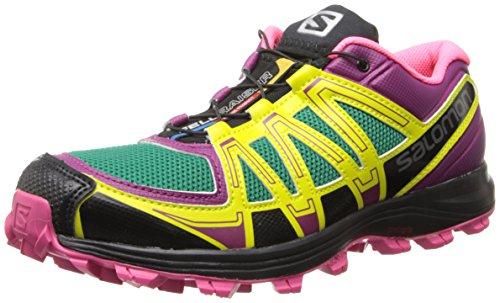 Salomon Women's Fellraiser W Trail Running Shoe,Mystic Purple/Hot Pink/Emerald Green,8.5 M US Salomon B00GHTNLU4