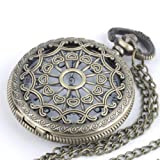 Vintage brass pocket watch pendant long chain necklace by 81stgeneration