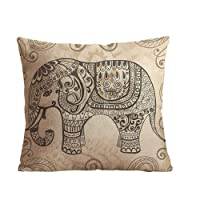 "ilkin Custom Cotton Linen Square Decorative Throw Pillow Case Cushion Cover Vintage Elephant Pattern 18 ""X18 "" by ilkin"