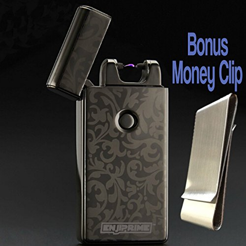 Best 2016 USB plazmatic Electric Rechargeable Arc Lighter By Enji Prime, spark At The Push Of A Button, Flameless, Windproof, Eco Friendly & Energy Saving, Electronic Cigarette cigar camping survival