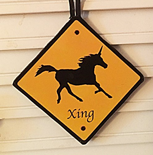 Unicorn Crossing Sign Ornament Handcrafted Wood Magnet Pin, Gift for Daughter or Granddaughter School Grab Bag Christmas Tree Librarian Gift