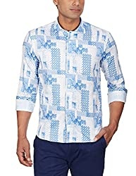 Punctuate Men's Casual Shirt (0666995112823_PNS161763_x-large_Blue Houndstooth Print)