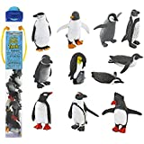 Safari Ltd Penguin TOOB With 11 Fun and Flightless Figurines, Including a Gentoo Penguin, Humboldt Penguin, Chinstrap Penguin, Swimming Penguin, Sliding Penguin, Rockhopper Penguin, Penguin with Baby, Penguin Chick, South African Penguin, Galapagos Penguin and Adelie Penguin