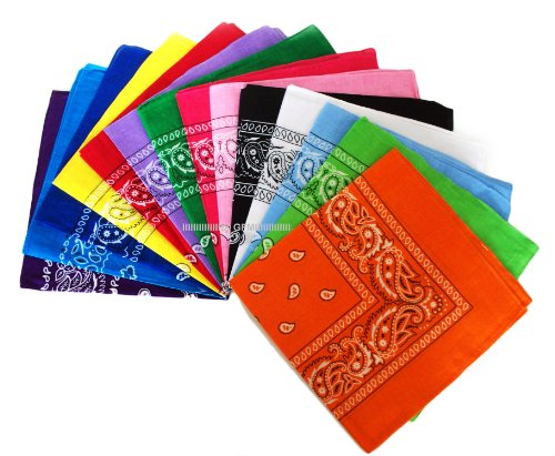 set-of-12-bandanas-bandana-neck-scarf-as-shown-in-the-photo-black-white-red-lilac-kelly-green-lime-g