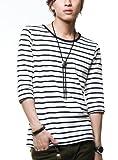 (ベストマート)BestMart マリン ボーダー Tシャツ メンズ 7分袖 Uネック Vネック 605072 ランキングお取り寄せ