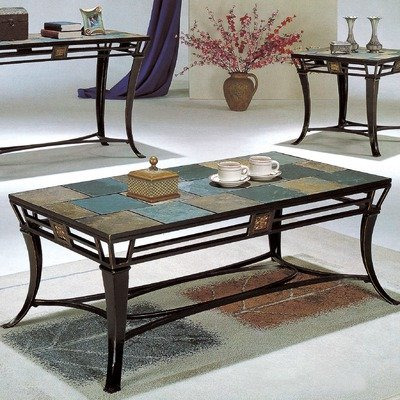 tile top coffee table morocco cocktail table set in black iron and slate from wildon home. Black Bedroom Furniture Sets. Home Design Ideas