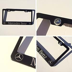 Black powder coated mercedes benz laser for Mercedes benz stainless steel license plate frame