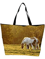 Snoogg Colorful White Horse Designer Waterproof Bag Made Of High Strength Nylon