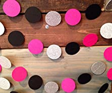 buy Glittery Silver, Hot Pink And Black Paper Garland