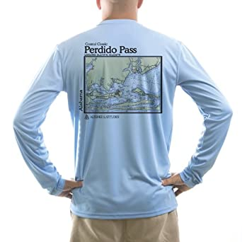 Altered Latitudes Mens Perdido Pass Chart UPF Long Sleeve T-Shirt by Altered Latitudes