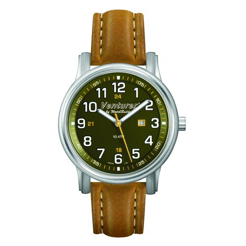 Venturer Sports Watch by WatchBuddy - Jungle Green Dial with Khaki-Tan Leather Strap - Child's Size