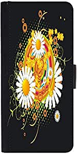 Snoogg Floral Vector Abstract Designer Protective Phone Flip Case Cover For Desire 620G Dual Sim