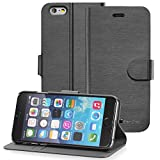 Apple iPhone 6 Wallet Case - GreatShield [SHIFT LX] Slim Leather Flip Cover Case for Apple iPhone 6 4.7 (Black)