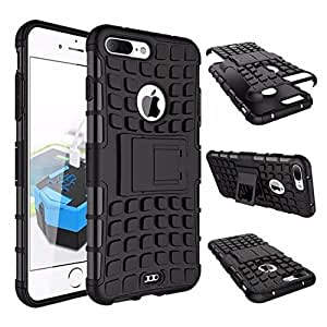 PRAVARA Premium Quality Defender Tough Hybrid Military Grade Armour Shockproof Hard with Kick Stand Rugged Back Case Cover for Apple iPhone 7 Plus - Black (New Arrival)
