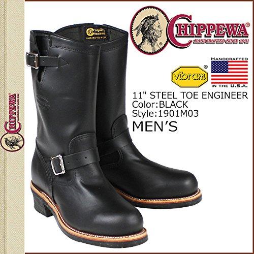 (チペワ)CHIPPEWA 1901M03 11 INCH STEEL TOE ENGINEER 11インチ スティールトゥ エンジニア ブーツ Eワイズ ブラック US10-28.0 (並行輸入品)