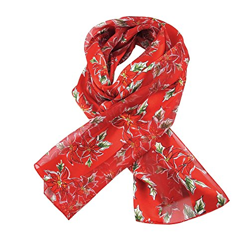 Absolute Stores Red Poinsettia Ladies Scarves