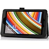 IVSO Slim-Book Stand Cover Case for ASUS VivoTab Note 8 (M80TA) Windows 8.1 Tablet - with Card Holder / Hand Strap (Black)