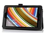 IVSO オリジナル ASUS VivoTab Note 8 M80TA 専用PUレザーケース 超薄型 最軽量 ハンドストラップ付+カード入れ+スタンド機能付 (ブラック)