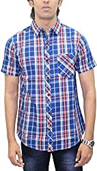 AA' Southbay Men's Royal Blue & Red Twill Checks 100% Premium Cotton Half Sleeve Casual Shirt