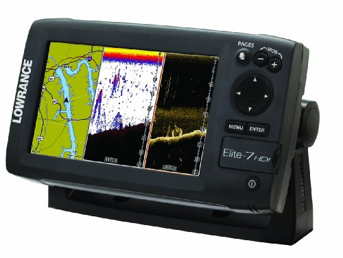 Lowrance Elite-7 000-10968-001 7-Inch Color Plotter,Sounder with Basemap and 83/200 Transom Mount Transducer