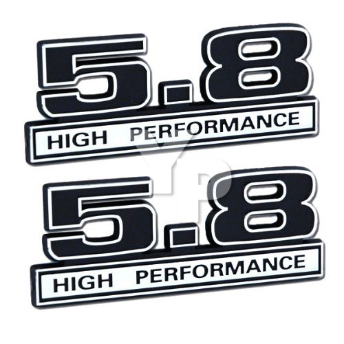Black & Chrome 5.8 High Performance Emblems - Pair - Universal Application (351 Crate Engine compare prices)
