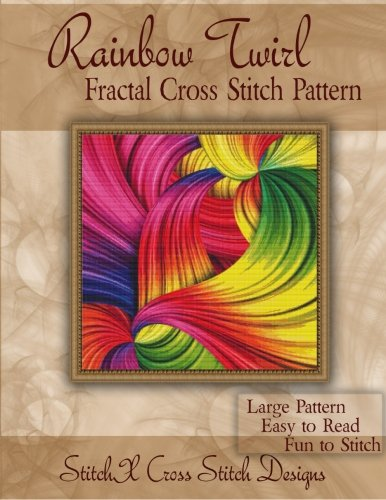 Rainbow Twirl Fractal Cross Stitch Pattern