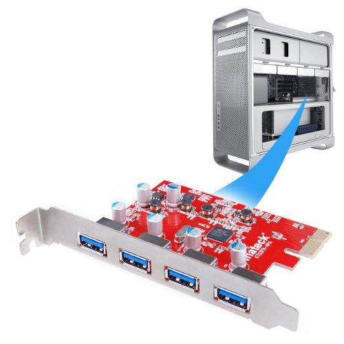 [Mac Pro Auto alimentation]Inateck KT4004 Carte Contrôleur USB 3.0 4 ports PCI Express pour Mac Pro Carte expansion USB 3.0
