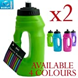 2 Sports Bottles - One Handed - Pop-Up Top - Carry Handle (Green)