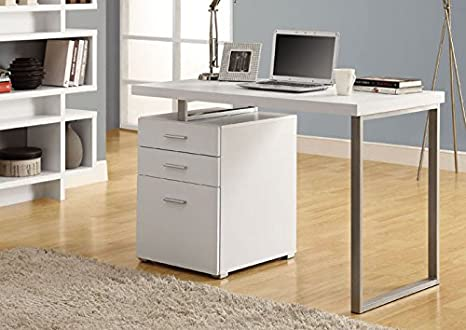 "WHITE HOLLOW-CORE LEFT OR RIGHT FACING 48""L DESK (SIZE: 48L X 24W X 30H)"