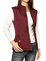 Allegra K Woman Stand Collar Zippered…