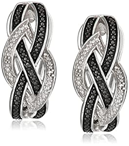 Sterling Silver White and Black Diamond Weave Omega Back Earrings