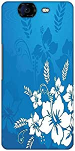 Snoogg Abstract Vector Wallpaper Of Floral Themes In Blue Designer Protective Back Case Cover For Micromax Canvas Knight A350