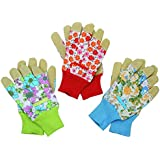 3 Pairs Women's Gloves With Leather And Flowers Print, Size L