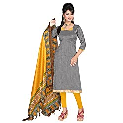 Vibhaa Grey Khadi Silk Straight Fit Salwar Suit