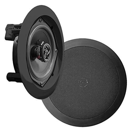 Pyle Pdic51Rdbk In-Wall / In-Ceiling Dual 5.25-Inch Speaker System, 2-Way, Flush Mount, Black (Pair)