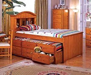 Grady American Oak Finish Full Size Captain Bed W Trundle Bed