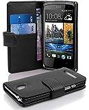 Cadorabo ! PREMIUM - Book Style Hülle im Portemonnaie Design für HTC Desire 500 in OXID-SCHWARZ