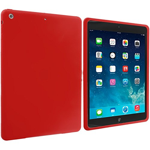 Cell Accessories For Less (Tm) Red Silicone Soft Skin Case Cover For Apple Ipad Air - By Thetargetbuys front-916442