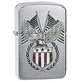 Zippo 1941 Replica Eagle & Flag Pocket Lighter, Brushed Chrome