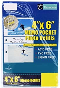 Pinnacle 4-inch-by-6-inch 2-UP Album Refill Pages with Memo Strips