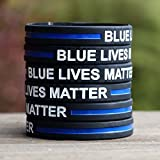 1 Blue Lives Matter Thin Blue Line Silicone Wristband Bracelet Police Officers Patrol Awareness Support