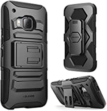 HTC One M9 Case ,i-Blason Prime [Kickstand] HTC One Hima H9 2015 Release [Heavy Duty] [Dual Layer] Combo Holster Cover case with [Locking Belt Swivel Clip] (Black)